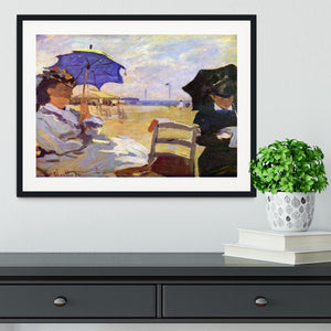 On the beach at Trouville by Monet Framed Print - Canvas Art Rocks - 1