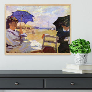 On the beach at Trouville by Monet Framed Print - Canvas Art Rocks - 4
