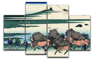 Ono Shindon in the Suraga province by Hokusai 4 Split Panel Canvas  - Canvas Art Rocks - 1