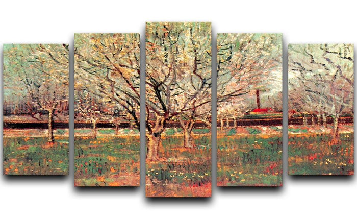 Orchard in Blossom Plum Trees by Van Gogh 5 Split Panel Canvas