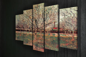 Orchard in Blossom Plum Trees by Van Gogh 5 Split Panel Canvas - Canvas Art Rocks - 2