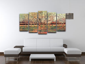 Orchard in Blossom Plum Trees by Van Gogh 5 Split Panel Canvas - Canvas Art Rocks - 3