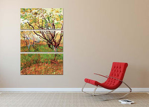 Orchard in Blossom by Van Gogh 3 Split Panel Canvas Print - Canvas Art Rocks - 2