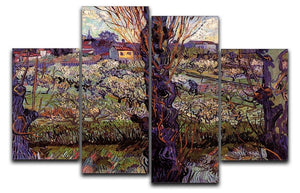 Orchard in Blossom with View of Arles by Van Gogh 4 Split Panel Canvas  - Canvas Art Rocks - 1