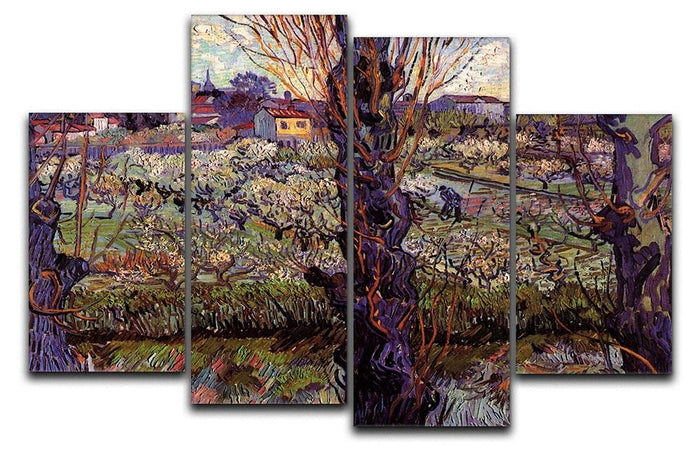 Orchard in Blossom with View of Arles by Van Gogh 4 Split Panel Canvas