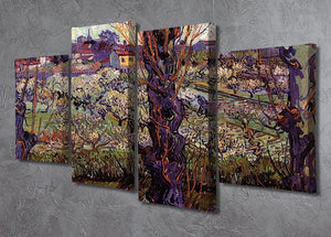 Orchard in Blossom with View of Arles by Van Gogh 4 Split Panel Canvas - Canvas Art Rocks - 2