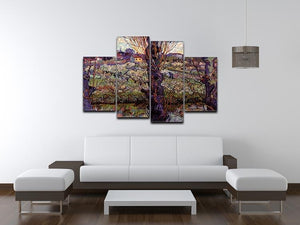 Orchard in Blossom with View of Arles by Van Gogh 4 Split Panel Canvas - Canvas Art Rocks - 3