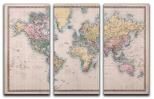 Original old hand coloured map 3 Split Panel Canvas Print - Canvas Art Rocks - 1