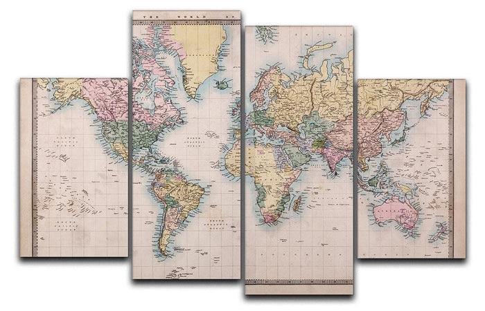 Original old hand coloured map 4 Split Panel Canvas