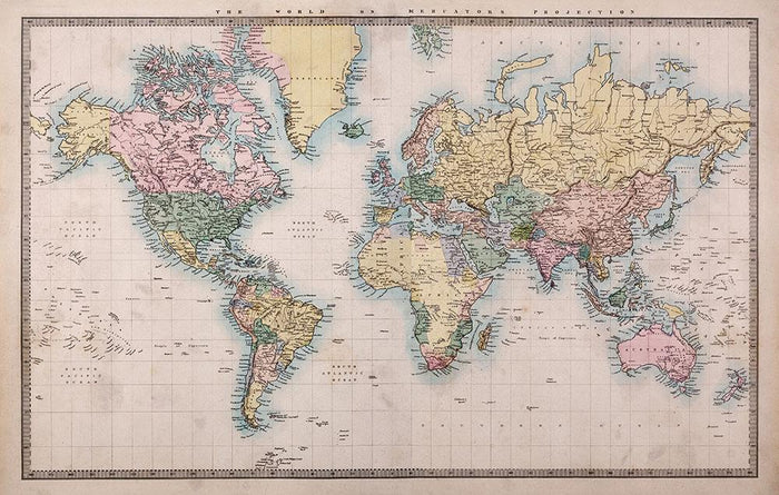 Original old hand coloured map Wall Mural Wallpaper