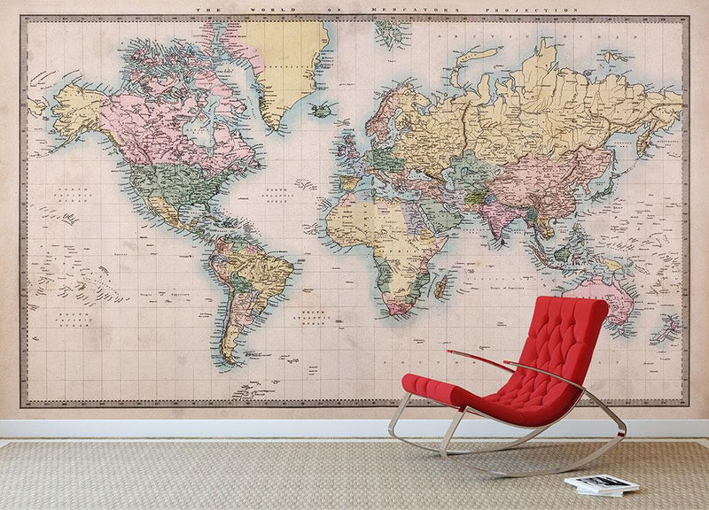 Original old hand coloured map Wall Mural Wallpaper - Canvas Art Rocks - 1
