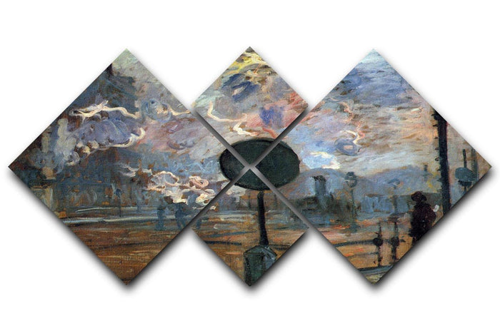 Outside the station Saint Lazare The signal by Monet 4 Square Multi Panel Canvas