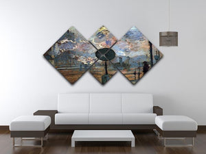 Outside the station Saint Lazare The signal by Monet 4 Square Multi Panel Canvas - Canvas Art Rocks - 3