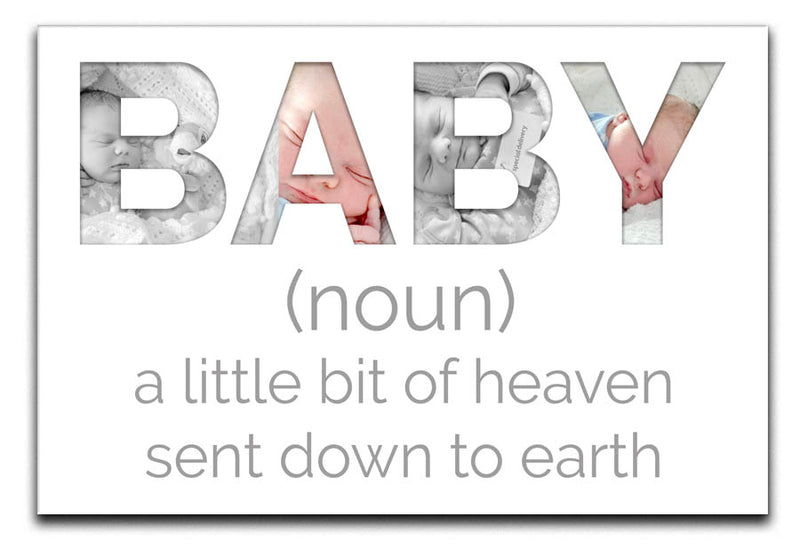 Personalised Bit Of Heaven Baby 4 Photo Canvas a