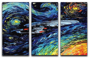 Painting USS Enterprise spaceship 3 Split Panel Canvas Print - Canvas Art Rocks - 1