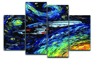 Painting USS Enterprise spaceship 4 Split Panel Canvas  - Canvas Art Rocks - 1