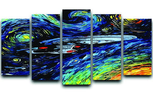 Painting USS Enterprise spaceship 5 Split Panel Canvas  - Canvas Art Rocks - 1