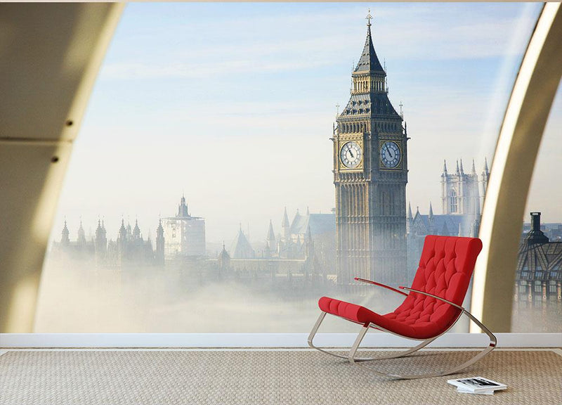 Palace of Westminster in fog Wall Mural Wallpaper - Canvas Art Rocks - 1