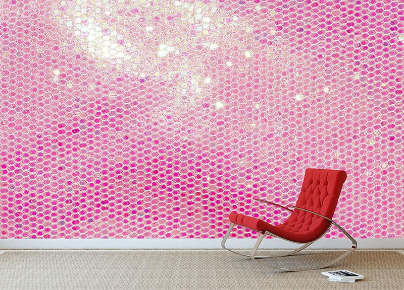 Pale pink sequin fabric Wall Mural Wallpaper - Canvas Art Rocks - 1
