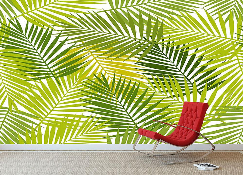 Palm leaf silhouettes seamless Wall Mural Wallpaper - Canvas Art Rocks - 1