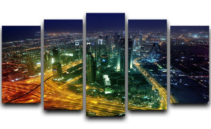 Panorama Dubai city at night 5 Split Panel Canvas  - Canvas Art Rocks - 1