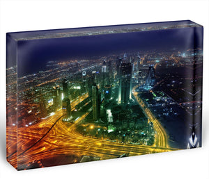 Panorama Dubai city at night Acrylic Block - Canvas Art Rocks - 1