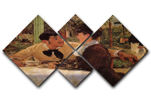 Pare Lathuille by Manet 4 Square Multi Panel Canvas  - Canvas Art Rocks - 1