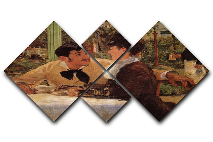 Pare Lathuille by Manet 4 Square Multi Panel Canvas