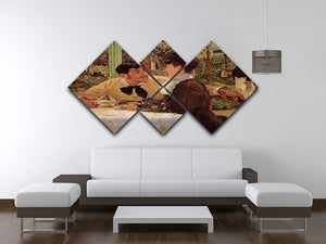 Pare Lathuille by Manet 4 Square Multi Panel Canvas - Canvas Art Rocks - 3