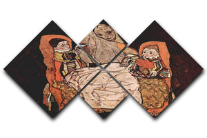 Parent with two children the mother by Egon Schiele 4 Square Multi Panel Canvas - Canvas Art Rocks - 1