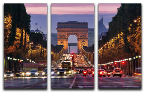 Paris Champs Elysees at night 3 Split Panel Canvas Print - Canvas Art Rocks - 1