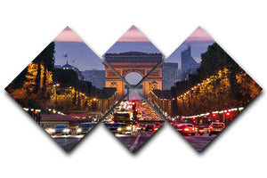Paris Champs Elysees at night 4 Square Multi Panel Canvas  - Canvas Art Rocks - 1