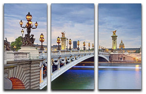 Paris image of the Alexandre III 3 Split Panel Canvas Print - Canvas Art Rocks - 1