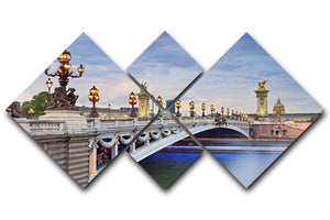 Paris image of the Alexandre III 4 Square Multi Panel Canvas  - Canvas Art Rocks - 1