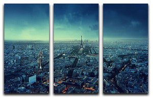 Paris skyline at sunset 3 Split Panel Canvas Print - Canvas Art Rocks - 1