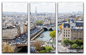 Paris skyline from the top of Notre Dame 3 Split Panel Canvas Print - Canvas Art Rocks - 1