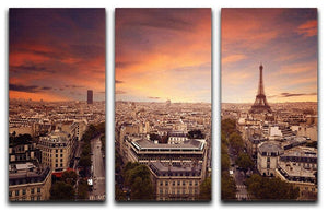 Paris sunset Skyline 3 Split Panel Canvas Print - Canvas Art Rocks - 1
