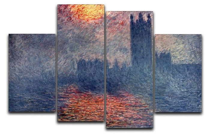 Parliament in London by Monet 4 Split Panel Canvas