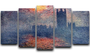 Parliament in London by Monet 5 Split Panel Canvas  - Canvas Art Rocks - 1
