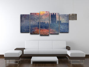 Parliament in London by Monet 5 Split Panel Canvas - Canvas Art Rocks - 3