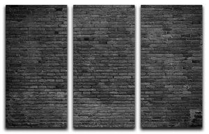 Part of black painted brick 3 Split Panel Canvas Print - Canvas Art Rocks - 1