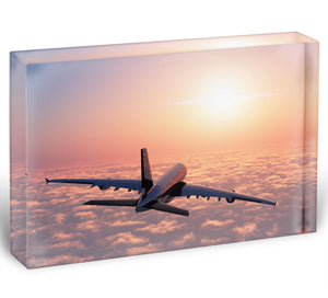 Passenger plane above the clouds Acrylic Block - Canvas Art Rocks - 1