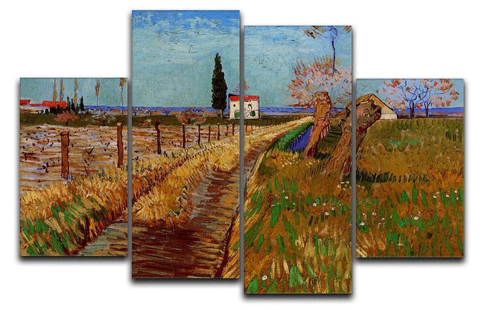 Path Through a Field with Willows by Van Gogh 4 Split Panel Canvas