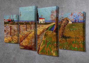 Path Through a Field with Willows by Van Gogh 4 Split Panel Canvas - Canvas Art Rocks - 2