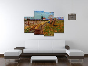Path Through a Field with Willows by Van Gogh 4 Split Panel Canvas - Canvas Art Rocks - 3