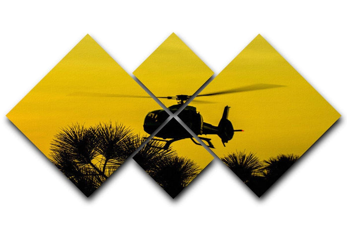Patrol Helicopter flying in the sky 4 Square Multi Panel Canvas