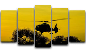 Patrol Helicopter flying in the sky 5 Split Panel Canvas  - Canvas Art Rocks - 1