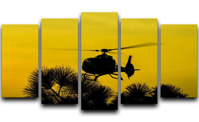 Patrol Helicopter flying in the sky 5 Split Panel Canvas