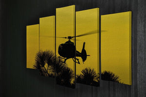 Patrol Helicopter flying in the sky 5 Split Panel Canvas  - Canvas Art Rocks - 2