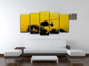Patrol Helicopter flying in the sky 5 Split Panel Canvas  - Canvas Art Rocks - 3